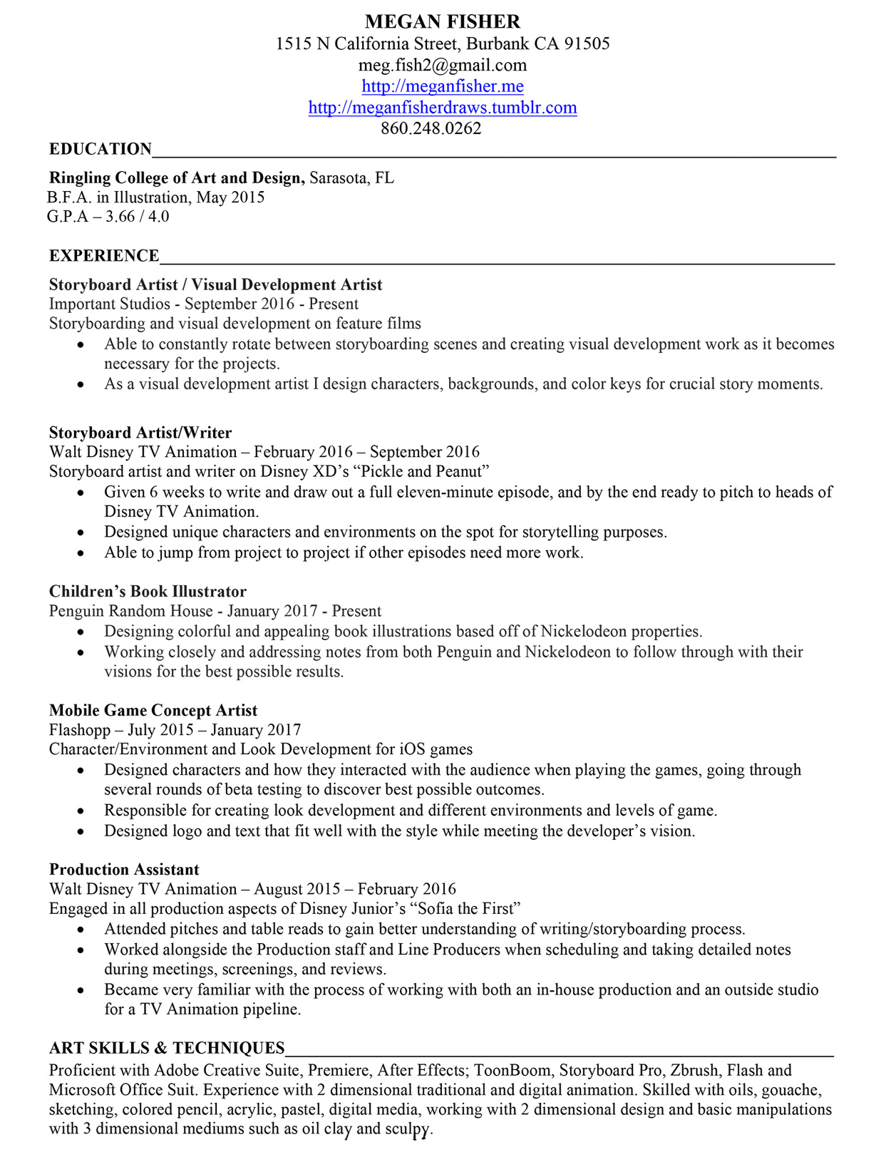 Disney College Program Resume Jaime Krzos Project Manager Homer 01 Jpg
