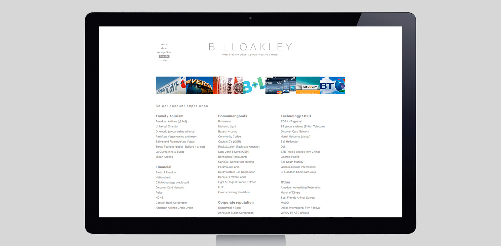 f6eeb1fbeb Website design and build for Dallas based creative officer Bill Oakley.